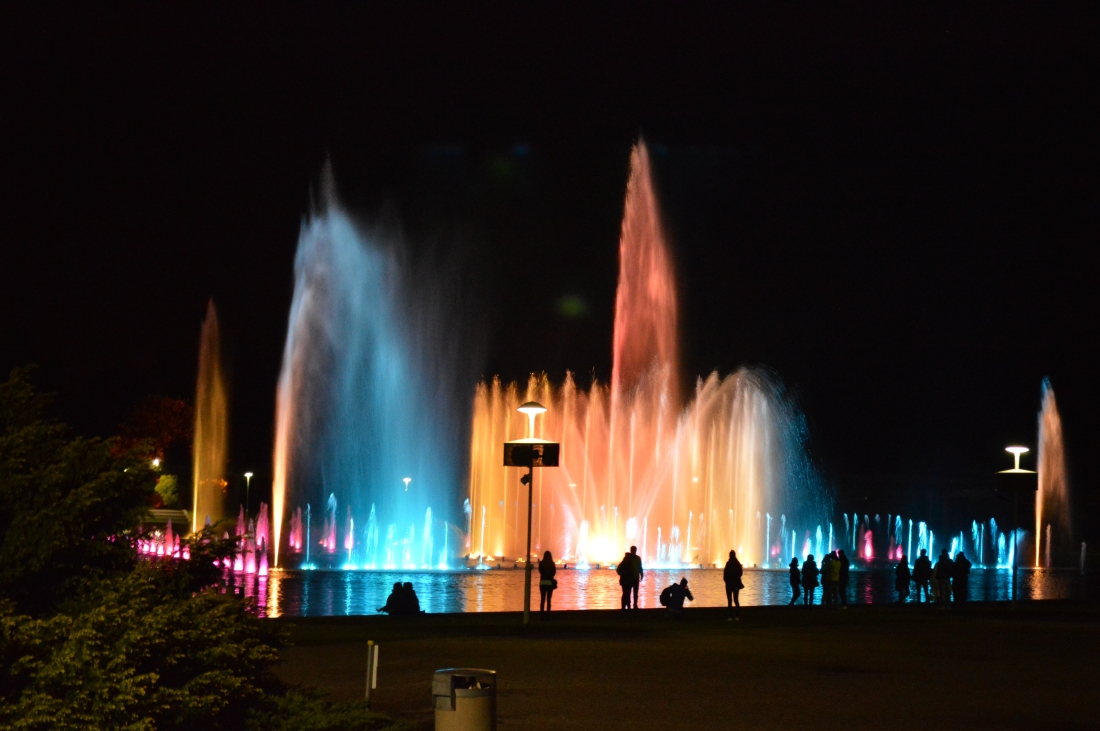 A picture of Wroclaw's famous light fountain